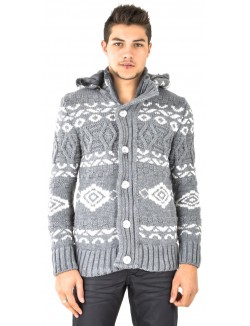 Gilet homme à motifs aztèques gris