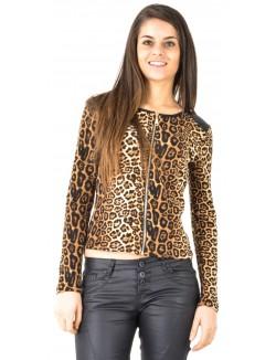 Gilet léopard bimatière matelassé
