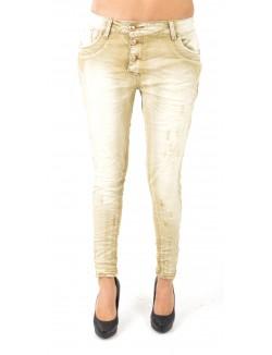 Jeans beige délavé à boutons