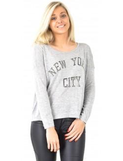 Pull fin oversize New York à strass