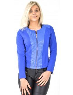 Veste bimatière matelassée bleue