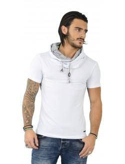 T-shirt homme col châle contrastant