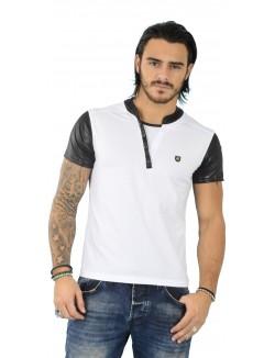 T-shirt homme à manches en simili-cuir