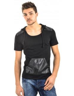 T-shirt homme col capuche bimatière