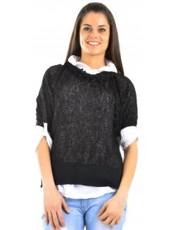 Tunique fluide à chemise et écharpe