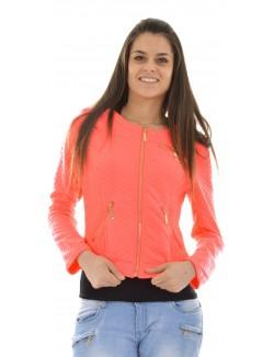Veste à zips matelassée rose