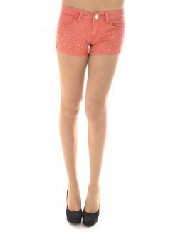Short en jeans corail à strass