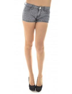 Short en jeans gris à strass