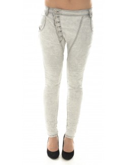 Jeans sarouel gris délavé froissé