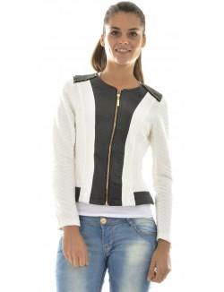 Veste bimatière zippée