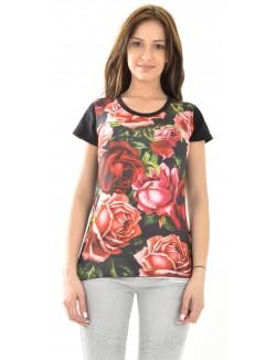 T-shirt Celebry Tees à fleurs rouges