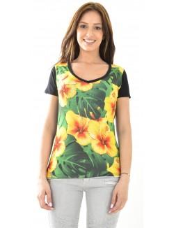 T-shirt Celebry Tees à fleurs jaunes