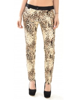 Pantalon tailleur à motifs léopards