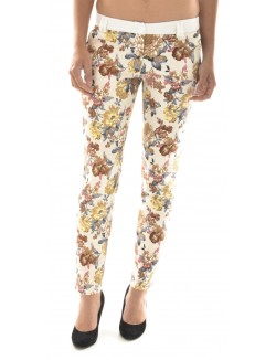 Pantalon tailleur à motifs fleurs