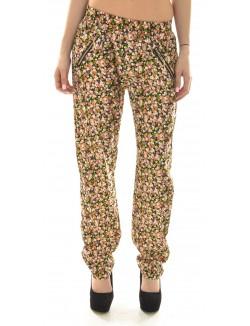 Pantalon fluide à motifs fleurs