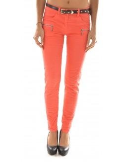 Pantalon froissé à zips argent