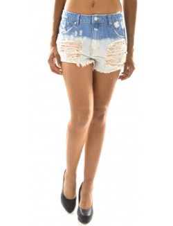 Short en jeans déchiré tie and dye