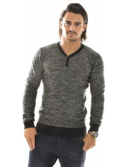 Pull homme chiné col contrastant