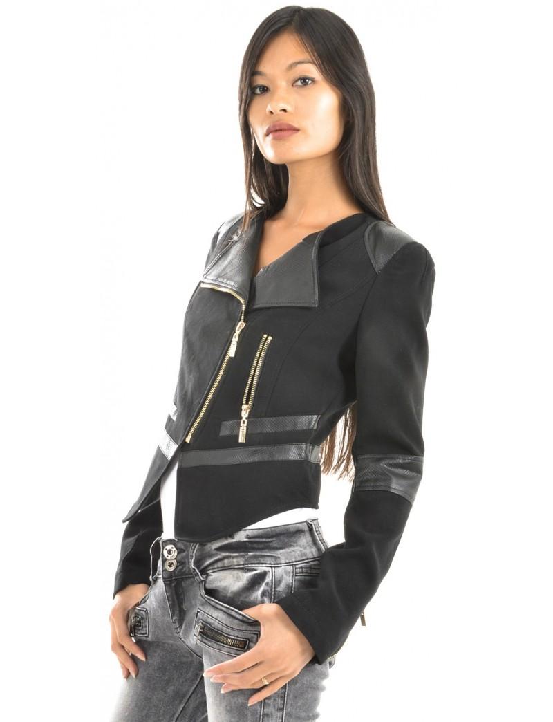 Veste faux cuir femme courte