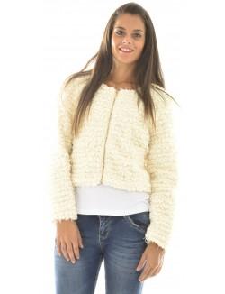 Veste courte en laine à franges