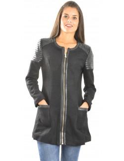 Manteau bimatière brillant
