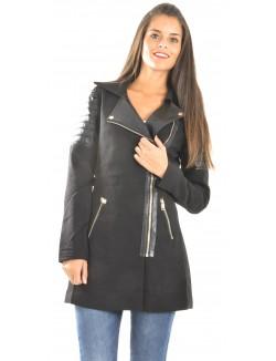 Manteau asymétrique bimatière