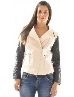 Veste en néoprène à manches en simili-cuir