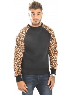 Sweat crewneck MindBlow à manches léopard