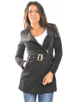 Manteau à empiècements en simili-cuir matelassés