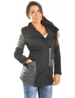 Manteau en laine bimatière