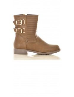 Bottines motardes en simili-cuir