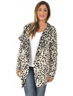 Gilet asymétrique léopard