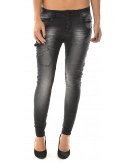 Jeans sarouel noir délavé