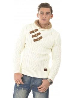 Pull homme en laine à fourrure au col