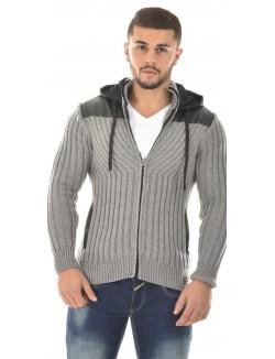 Gilet homme en laine bimatière