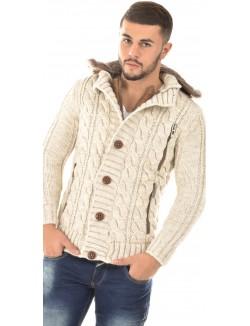 Gilet en laine à capuche en fourrure