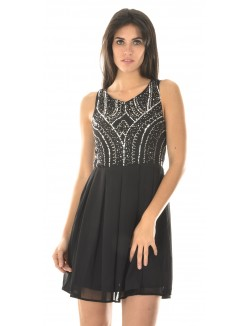 Robe patineuse en voile à strass