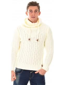 Pull en laine à col montant blanc