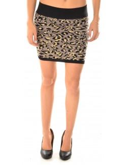 Jupe en laine à motifs léopards