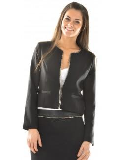 Veste courte à bordures en strass