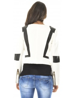 Veste courte à empiècements en simili-cuir
