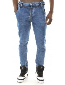 Jeans sarouel homme bleu délavé