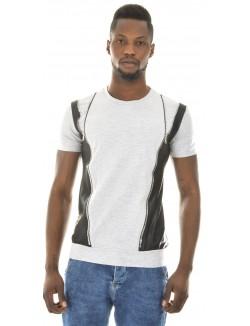 T-shirt homme bimatière zippé