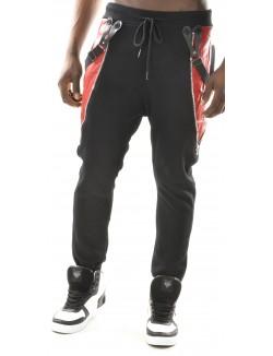 Jogging sarouel homme bimatière rouge
