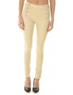 Pantalon taille haute à boutons