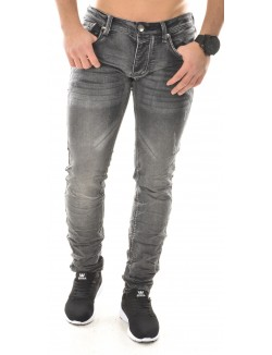 Jeans gris délavé froissé