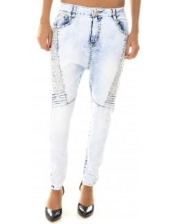 Jeans sarouel à clous dorés