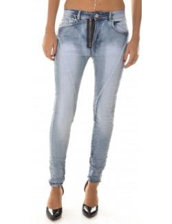 Jeans slim à zips sur l'avant