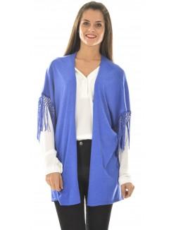 Kimono en laine chiné à franges