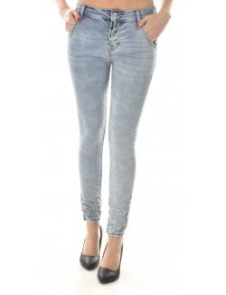 Jeans sarouel délavé froissé